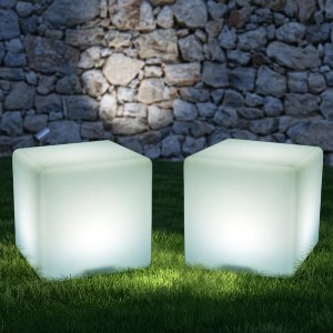 HomCom Battery Powered Integrated LED Color Changing Outdoor Floor Lamp - Best Outdoor Patio Lights: Cubic Light