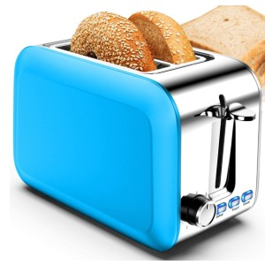 Hommater Stainless Steel Blue Toasters - Best Toaster Two Slices: Wide Slots Toaster