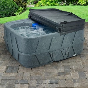 Hot Tub Works 14 Stainless Steel Jets and LED Waterfall - Best Two-Person Hot Tubs: Hot Tub with a Safety Lock Spa Cover