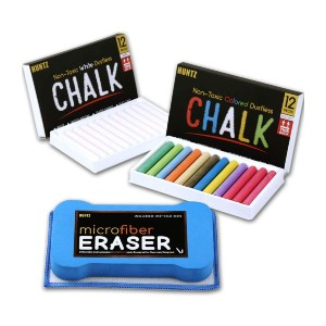 Huntz Non-Toxic White Dustless Chalk - Best Chalk for Chalkboard: Non-Toxic, Smooth and Clean Writing