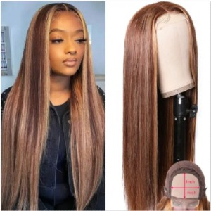 Hurela 150% Density Blonde Highlight Piano Color - Best Human Hair Wigs for African American: 8A Grade 100% Human Hair