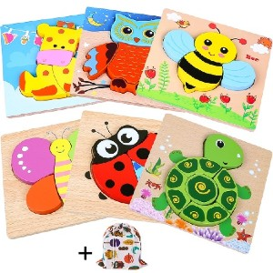 INNOCHEER Wooden Animal Jigsaw Puzzles for Toddlers - Best Wooden Puzzles for Toddlers: Good for Kids to Exercise Their Cognitive Skills