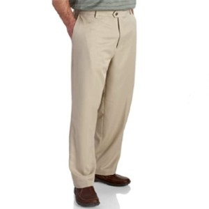 IZOD Men's Golf Microsanded Flat Front Classic Fit Pant - Best Pants for Golf: Washable Pants