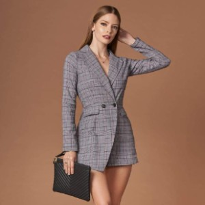 Trendy Rompers  Icon Grey Plaid Blazer Romper  - Best Romper for Long Torso: Classic and classy
