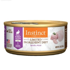 Instinct Limited Ingredient Diet Grain-Free Pate Real Rabbit Recipe Canned Cat Food - Best Food for Cats with Allergies: Excellent Farm-Raised Rabbit Formulation