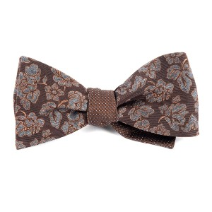 Tie Bar Intellect Pinpoint Brown Bow Tie - Best Bow Ties for Tuxedo:  Two in one