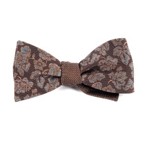 Tie Bar Intellect Pinpoint Brown Bow Tie - Best Ties for Charcoal Suit: Two in one