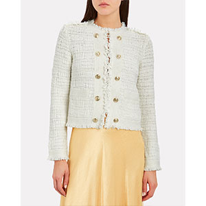Intermix Lila Cropped Knit Jacket - Best Jacket for Summer: Classic jacket with gold-tone buttons