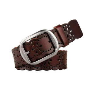 JASGOOD Store Women's Hollow Flower Leather Belt for Jeans - Best Women's Leather Belts for Jeans: Unique Design Belt