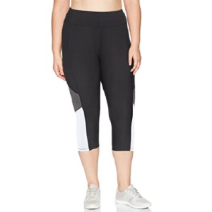 JUST MY SIZE Women's Plus Size Active Pieced Stretch Capri - Best Yoga Pants for Women: Yoga Pants with Plus Size