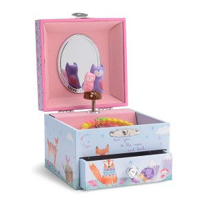Jewelkeeper Musical Jewelry Box with Spinning Owls - Best Music Box for Toddlers: Multi-functional