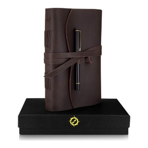 Jofelo Leather Journal Lined Paper A5 - Best Notebooks for College: Mysterious and Beautiful Cover Leather
