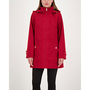Jones New York Petite Hooded Raincoat - Best Raincoats for Petites: Stand Collar with Removable Hood