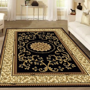 The Conestoga Trading Co. Jordan Oriental Black Area Rug - Best Rugs for Dining Rooms: Magical Aladdin Vibe