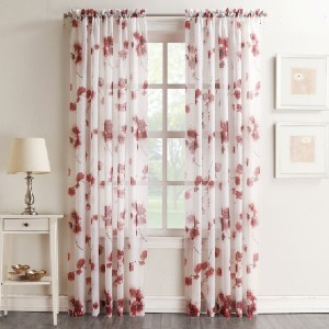 Joss&Main Alexandre Floral Sheer Rod Pocket Curtains - Best Curtains for Living Room: Easy Installation Curtain