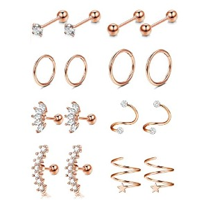 Jstyle 8 Pairs Earring Hoops  - Best Jewelry for Helix Piercing: Compliment your skin tone