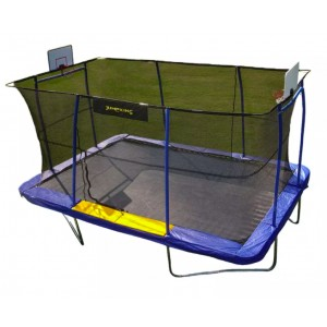 JumpKing 10' x 15' Rectangular -- BB Hoop, Volleyball, Court, Foot Step - Best Trampoline with Basketball Hoop: You'll have everything you need