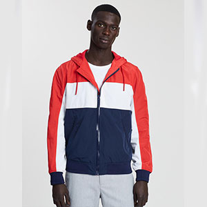 Justin Cassin Crew Windbreaker - Best Jacket for Wind: Colour-blocked windbreaker jacket