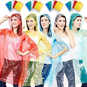 Juvale 20-Pack Disposable Rain Ponchos - Best Raincoats for Disney: What a family goal