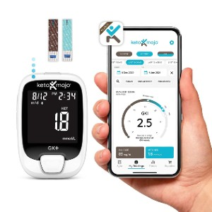 KETO MOJO GK+ Glucose & Ketone Bluetooth Monitor  - Best Glucometer for Gestational Diabetes: All-in-one solution