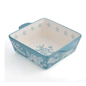 KINGSBULL HOME Baking Pan Ceramic - Best Ceramic Baking Dishes: Beautiful Pattern and Convenient Cleaning