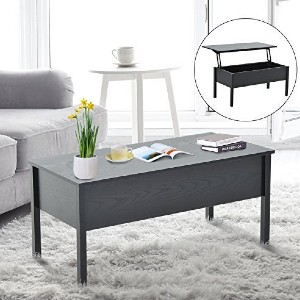 KKmoon 39? Modern Lift Top Coffee Table Desk With Hidden Storage - Best Coffee Table with Storage: Extending Top Coffee Table