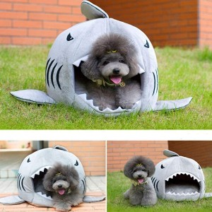 KOJIMA Cute Color Shark Round House Puppy Bed with Pet Bed Mat Small to Medium - Best Dog Beds for Puppies: Cute Dog Bed