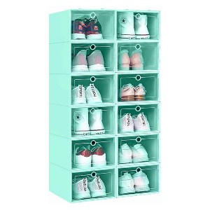KPX 12 Pack Stackable Shoe Storage Organizer  - Best Sneaker Storage Boxes: Easy Access Small Hole