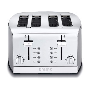 Krups 4-Slot Toaster with Brushed and Chrome Stainless Steel Housing - Best Toaster for Bread: Toaster with Dual Independent Control Panels