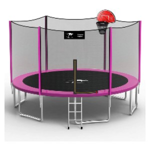 Kangaroo Hoppers 14 FT Trampoline with Safety Enclosure Net - Best Trampoline with Basketball Hoop: Superior dense mesh