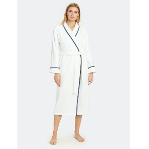 Kassatex Turkish Plush Robe with Piping - Best Robes for Women: Robe with Piping for Style
