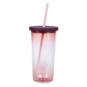 Kate Spade New York Insulated Tumbler with Reusable Straw - Best Tumbler for Iced Coffee: Slim pink ombre tumbler