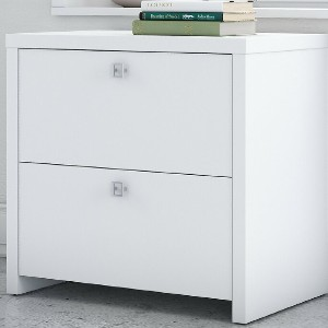Kathy Ireland Office by Bush Echo 2-Drawer Lateral Filing Cabinet - Best Lateral File Cabinets: Minimalist Pure White File Cabinet