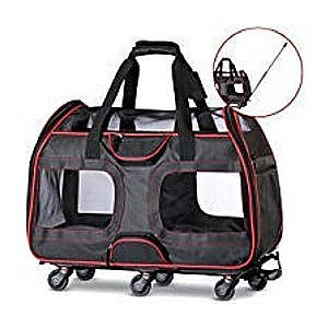 Katziela Pet Carrier with Removable Wheels - Best Pet Carrier for Small Dogs: Six removable wheels