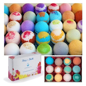 Kay's Bath Bombs Gift Set Fizzies - Best Bath Bombs for Sensitive Skin: Won't Stain Your Tub