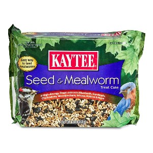 Kaytee Seed & Mealworm Treat Cake - Best Bird Food to Attract Colorful Birds: Excellent Treat Cake