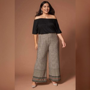 Trendy Rompers Kellie Black and Brown Print Off-the-Shoulder Jumpsuit  - Best Jumpsuit for Plus Size: Three in one