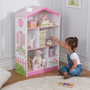 KidKraft Bookcase Wooden Children's Furniture with Shelves and Hidden Storage - Best Bookshelves for Toddlers: Sturdy Bookcase for Little Girl