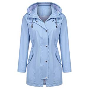 Kikibell Women Striped Lined Hooded Raincoat - Best Raincoats for Iceland: Stay dry in fashion