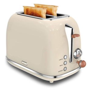 KitchMix Retro Stainless Steel Bread Toasters with 6 Settings - Best Toaster Two Slices: Anti-Overheat and Anti-Leakage Protection Toaster