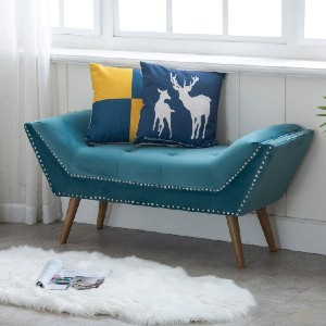 Kmax Upholstered Entryway Bench - Best Entryway Benches: Durable Bench with Velvet Upholstered