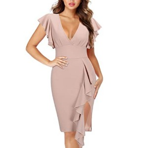 Knitee Women's Ruffle Sleeves Cocktail Party Dress - Best Party Wear Dress for Ladies: Give you a great curvy looking