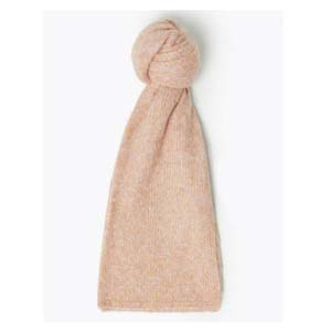 Mark and Spencer Knitted Nep Scarf with Wool - Best Scarves for Winter: Lovely pastel pink