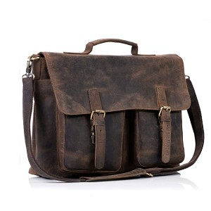 KomalC 16 Inch Buffalo Leather Briefcase  - Best Satchel for Work: Leather Satchel