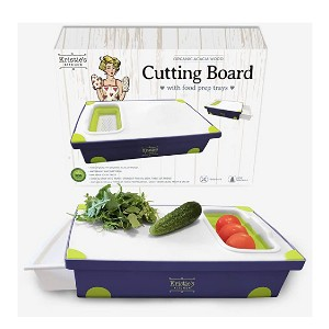 Kristie's Kitchen Cutting Board with Tray - Best Cutting Board with Trays: Cut, drain, store in one product