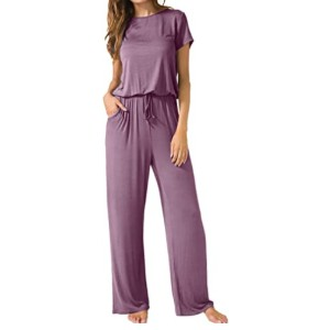 LAINAB Women's Short Sleeve Loose Casual Jumpsuits - Best Jumpsuits on Amazon: Casual wear for all seasons