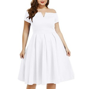LALAGEN Women's Plus Size Vintage Dress - Best Party Dress for Plus Size: Thick and stretchy material