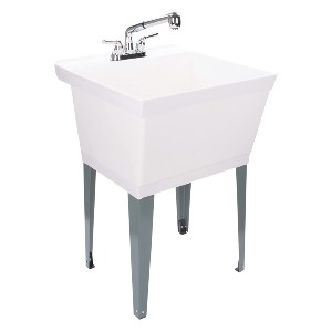 LDR Industries White Utility Sink Laundry Tub - Best Laundry Room Sinks: Complete Sink Package