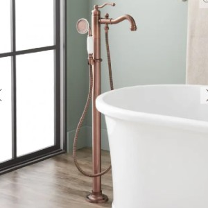Signature Hardware LETA FREESTANDING TUB FAUCET - Best Bathtub Faucets: Includes Flexible Supplies for Under-Floor Hookup