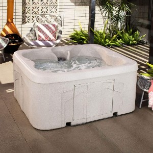 LIFE SMART Plug & Play Square Hot Tub Spa - Best Hot Tub for Cold Climates: Hot Tub with Underwater Multi-Color LED Light System